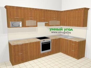 Угловая кухня МДФ матовый в классическом стиле 7,5 м², 300 на 160 см, Вишня, верхние модули 72 см, посудомоечная машина, модуль под свч, встроенный духовой шкаф