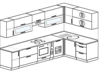 Угловая кухня 7,5 м² (3,0✕1,6 м), верхние модули 720 мм, посудомоечная машина, встроенный духовой шкаф