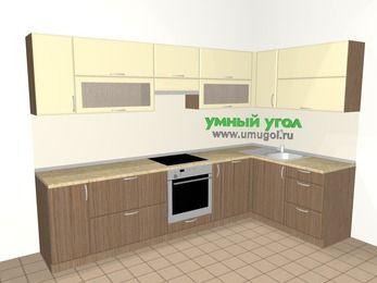 Угловая кухня МДФ матовый 7,5 м², 3000 на 1600 мм, Ваниль / Лиственница бронзовая, верхние модули 720 мм, посудомоечная машина, встроенный духовой шкаф