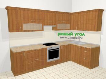 Угловая кухня МДФ матовый в классическом стиле 7,5 м², 300 на 160 см, Вишня, верхние модули 72 см, посудомоечная машина, встроенный духовой шкаф