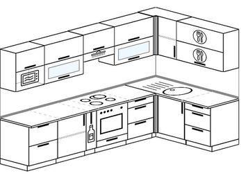 Планировка угловой кухни 7,5 м², 3000 на 1600 мм: верхние модули 720 мм, корзина-бутылочница, встроенный духовой шкаф, модуль под свч