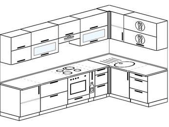 Угловая кухня 7,5 м² (3,0✕1,6 м), верхние модули 720 мм, встроенный духовой шкаф