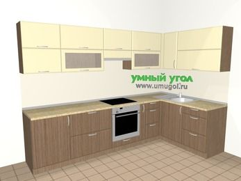 Угловая кухня МДФ матовый 7,5 м², 3000 на 1600 мм, Ваниль / Лиственница бронзовая, верхние модули 720 мм, встроенный духовой шкаф