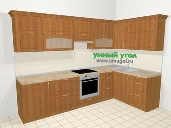 Угловая кухня МДФ матовый в классическом стиле 7,5 м², 300 на 160 см, Вишня, верхние модули 72 см, встроенный духовой шкаф