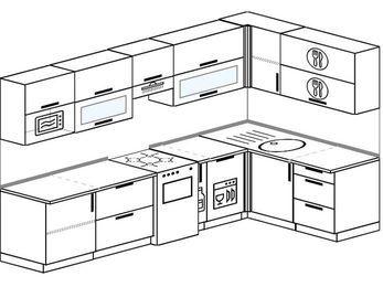 Угловая кухня 7,5 м² (3,0✕1,6 м), верхние модули 720 мм, посудомоечная машина, модуль под свч, отдельно стоящая плита