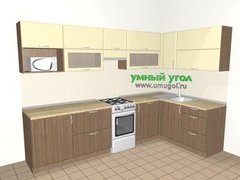 Угловая кухня МДФ матовый 7,5 м², 3000 на 1600 мм, Ваниль / Лиственница бронзовая, верхние модули 720 мм, посудомоечная машина, модуль под свч, отдельно стоящая плита