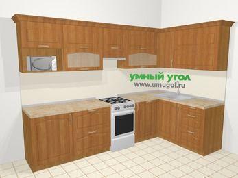 Угловая кухня МДФ матовый в классическом стиле 7,5 м², 300 на 160 см, Вишня, верхние модули 72 см, посудомоечная машина, модуль под свч, отдельно стоящая плита