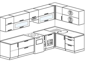 Угловая кухня 7,5 м² (3,0✕1,6 м), верхние модули 720 мм, посудомоечная машина, отдельно стоящая плита