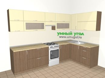 Угловая кухня МДФ матовый 7,5 м², 3000 на 1600 мм, Ваниль / Лиственница бронзовая, верхние модули 720 мм, посудомоечная машина, отдельно стоящая плита