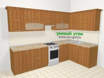 Угловая кухня МДФ матовый в классическом стиле 7,5 м², 300 на 160 см, Вишня, верхние модули 72 см, посудомоечная машина, отдельно стоящая плита