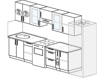 Планировка прямой кухни 6,0 м², 300 см (зеркальный проект): верхние модули 72 см, отдельно стоящая плита, корзина-бутылочница, холодильник