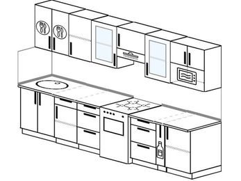 Планировка прямой кухни 6,0 м², 300 см (зеркальный проект): верхние модули 72 см, отдельно стоящая плита, корзина-бутылочница, модуль под свч