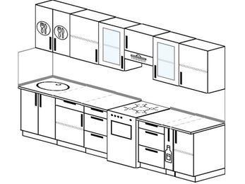 Планировка прямой кухни 6,0 м², 300 см (зеркальный проект): верхние модули 72 см, отдельно стоящая плита, корзина-бутылочница