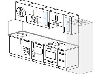 Планировка прямой кухни 6,0 м², 300 см (зеркальный проект): верхние модули 72 см, посудомоечная машина, корзина-бутылочница, встроенный духовой шкаф, холодильник, модуль под свч
