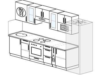 Планировка прямой кухни 6,0 м², 300 см (зеркальный проект): верхние модули 72 см, встроенный духовой шкаф, корзина-бутылочница, холодильник, модуль под свч