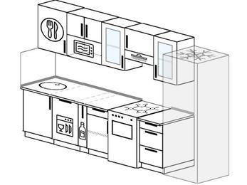 Планировка прямой кухни 6,0 м², 300 см (зеркальный проект): верхние модули 72 см, посудомоечная машина, корзина-бутылочница, отдельно стоящая плита, холодильник, модуль под свч