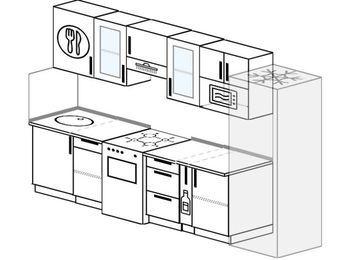 Планировка прямой кухни 6,0 м², 300 см (зеркальный проект): верхние модули 72 см, отдельно стоящая плита, корзина-бутылочница, холодильник, модуль под свч