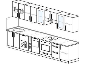 Планировка прямой кухни 6,0 м², 300 см (зеркальный проект): верхние модули 72 см, посудомоечная машина, корзина-бутылочница, встроенный духовой шкаф