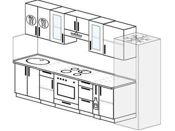 Планировка прямой кухни 6,0 м², 300 см (зеркальный проект): верхние модули 72 см, встроенный духовой шкаф, корзина-бутылочница, холодильник