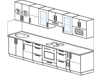 Планировка прямой кухни 6,0 м², 300 см (зеркальный проект): верхние модули 72 см, встроенный духовой шкаф, корзина-бутылочница, модуль под свч