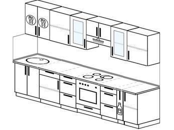 Планировка прямой кухни 6,0 м², 300 см (зеркальный проект): верхние модули 72 см, встроенный духовой шкаф, корзина-бутылочница