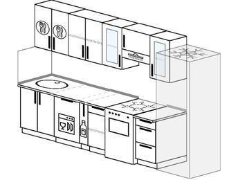 Планировка прямой кухни 6,0 м², 300 см (зеркальный проект): верхние модули 72 см, посудомоечная машина, корзина-бутылочница, отдельно стоящая плита, холодильник