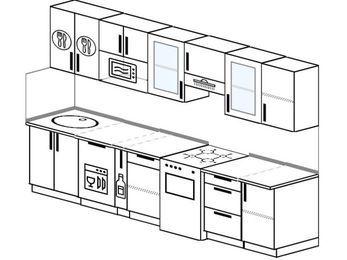 Планировка прямой кухни 6,0 м², 300 см (зеркальный проект): верхние модули 72 см, посудомоечная машина, корзина-бутылочница, отдельно стоящая плита, модуль под свч
