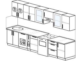 Планировка прямой кухни 6,0 м², 300 см (зеркальный проект): верхние модули 72 см, посудомоечная машина, корзина-бутылочница, отдельно стоящая плита