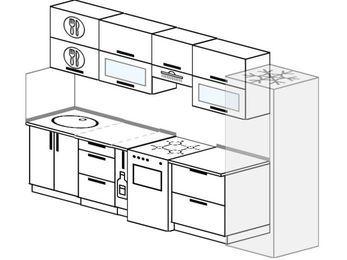 Планировка прямой кухни 6,0 м², 300 см (зеркальный проект): верхние модули 72 см, корзина-бутылочница, отдельно стоящая плита, холодильник