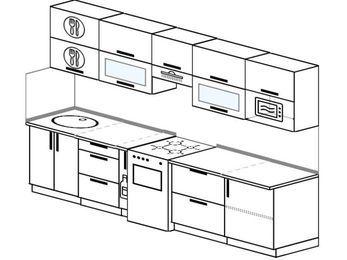 Планировка прямой кухни 6,0 м², 300 см (зеркальный проект): верхние модули 72 см, корзина-бутылочница, отдельно стоящая плита, модуль под свч