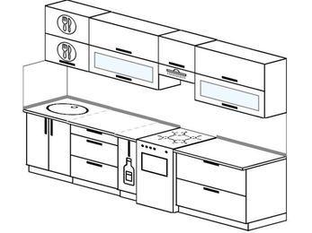 Планировка прямой кухни 6,0 м², 300 см (зеркальный проект): верхние модули 72 см, корзина-бутылочница, отдельно стоящая плита