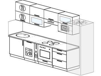 Планировка прямой кухни 6,0 м², 300 см (зеркальный проект): верхние модули 72 см, посудомоечная машина, корзина-бутылочница, встроенный духовой шкаф, холодильник, верхний модуль под свч