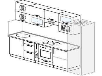 Планировка прямой кухни 6,0 м², 300 см (зеркальный проект): верхние модули 72 см, корзина-бутылочница, встроенный духовой шкаф, холодильник, верхний модуль под свч