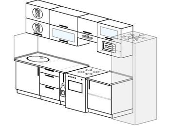 Планировка прямой кухни 6,0 м², 300 см (зеркальный проект): верхние модули 72 см, корзина-бутылочница, отдельно стоящая плита, холодильник, верхний модуль под свч