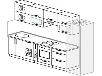 Планировка прямой кухни 6,0 м², 300 см (зеркальный проект): верхние модули 72 см, посудомоечная машина, корзина-бутылочница, встроенный духовой шкаф, холодильник