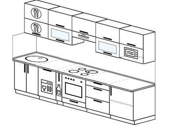 Планировка прямой кухни 6,0 м², 300 см (зеркальный проект): верхние модули 72 см, посудомоечная машина, корзина-бутылочница, встроенный духовой шкаф, модуль под свч