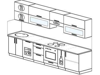 Планировка прямой кухни 6,0 м², 300 см (зеркальный проект): верхние модули 72 см, посудомоечная машина, встроенный духовой шкаф, корзина-бутылочница