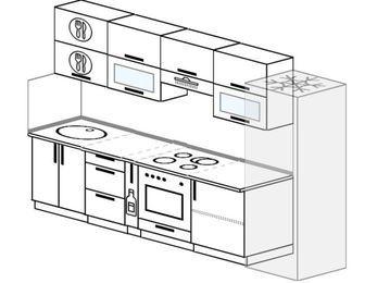 Планировка прямой кухни 6,0 м², 300 см (зеркальный проект): верхние модули 72 см, корзина-бутылочница, встроенный духовой шкаф, холодильник