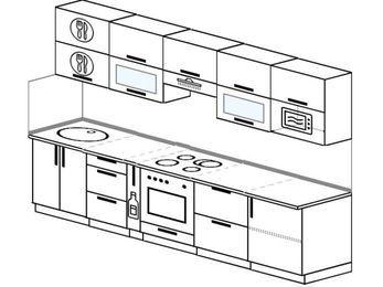 Планировка прямой кухни 6,0 м², 300 см (зеркальный проект): верхние модули 72 см, корзина-бутылочница, встроенный духовой шкаф, модуль под свч