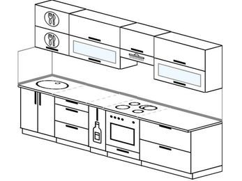 Планировка прямой кухни 6,0 м², 300 см (зеркальный проект): верхние модули 72 см, корзина-бутылочница, встроенный духовой шкаф