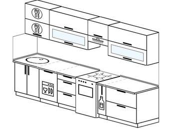 Планировка прямой кухни 6,0 м², 300 см (зеркальный проект): верхние модули 72 см, посудомоечная машина, отдельно стоящая плита, корзина-бутылочница