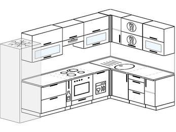 Планировка угловой кухни 8,3 м², 310 на 180 см: верхние модули 72 см, холодильник, корзина-бутылочница, встроенный духовой шкаф, посудомоечная машина