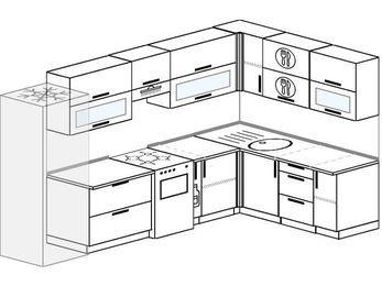 Угловая кухня 8,3 м² (3,1✕1,8 м), верхние модули 72 см, холодильник, отдельно стоящая плита