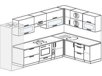 Угловая кухня 8,3 м² (3,1✕1,8 м), верхние модули 72 см, встроенный духовой шкаф, холодильник