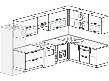 Угловая кухня 8,3 м² (3,1✕1,8 м), верхние модули 72 см, посудомоечная машина, холодильник, отдельно стоящая плита