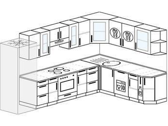 Угловая кухня 9,3 м² (3,1✕2,1 м), верхние модули 720 мм, посудомоечная машина, встроенный духовой шкаф, холодильник