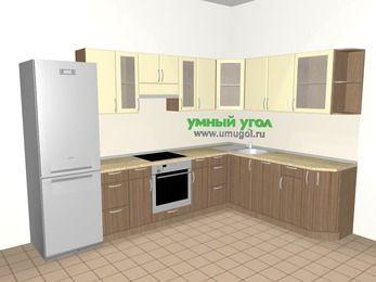 Угловая кухня МДФ матовый 9,3 м², 3100 на 2100 мм, Ваниль / Лиственница бронзовая, верхние модули 720 мм, посудомоечная машина, встроенный духовой шкаф, холодильник