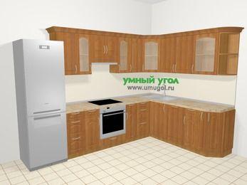 Угловая кухня МДФ матовый в классическом стиле 9,3 м², 310 на 210 см, Вишня, верхние модули 72 см, посудомоечная машина, встроенный духовой шкаф, холодильник