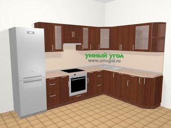 Угловая кухня МДФ матовый в классическом стиле 9,3 м², 310 на 210 см, Вишня темная, верхние модули 72 см, посудомоечная машина, встроенный духовой шкаф, холодильник