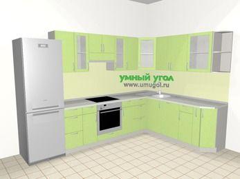 Угловая кухня МДФ металлик 9,3 м², 3100 на 2100 мм, Салатовый металлик, верхние модули 720 мм, посудомоечная машина, встроенный духовой шкаф, холодильник